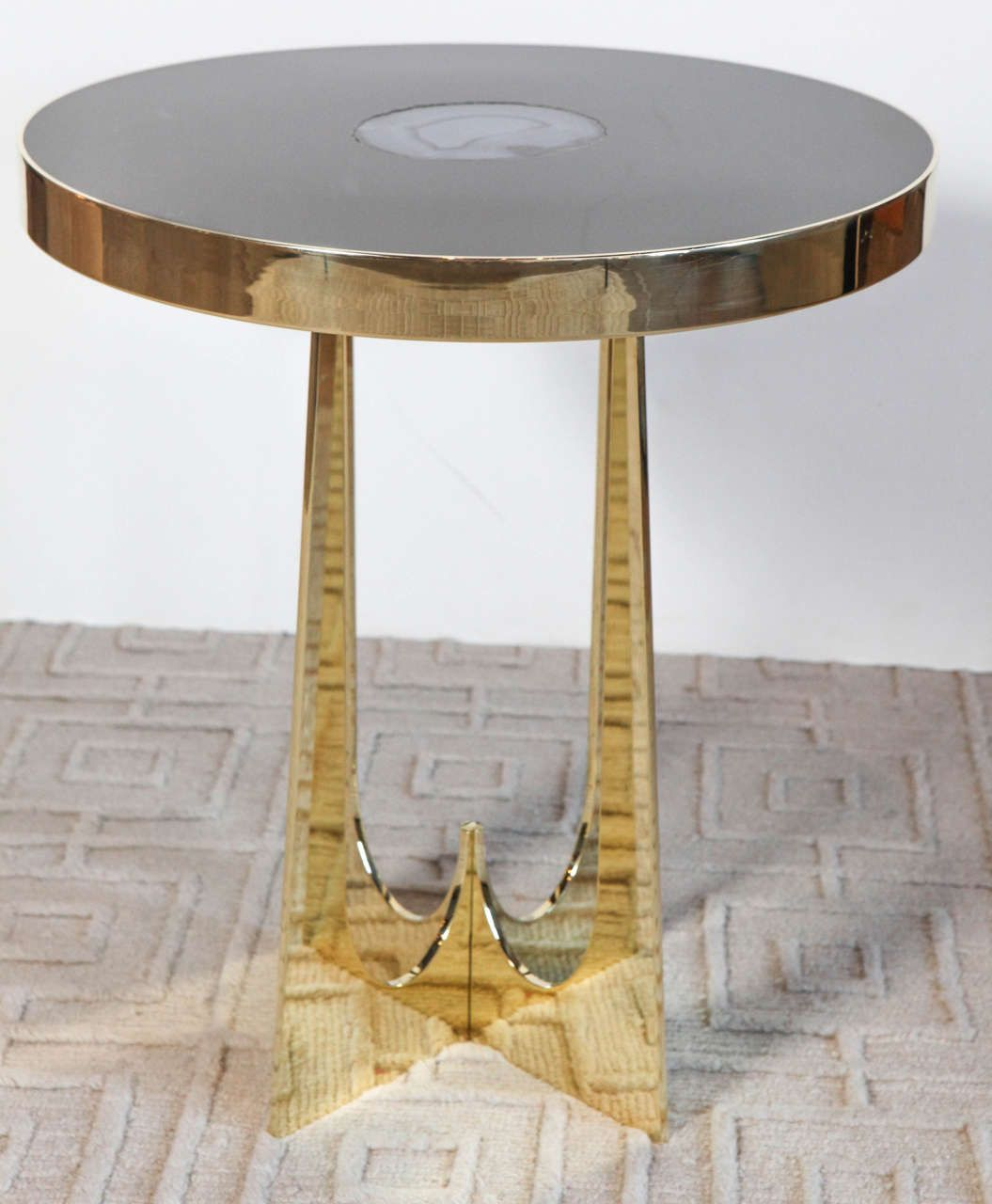 Exceptional Brass And Resin Side Table With An Agate Designed By Adam Hebb, USA