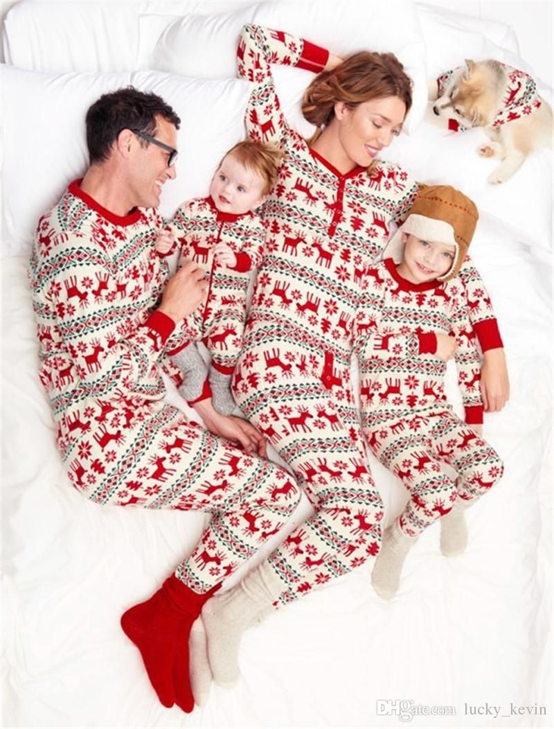 fcc584adf1 Christmas Pajamas Family matching Clothes Set Mother And Daughter Clothes  Father Son Mom Baby New Year