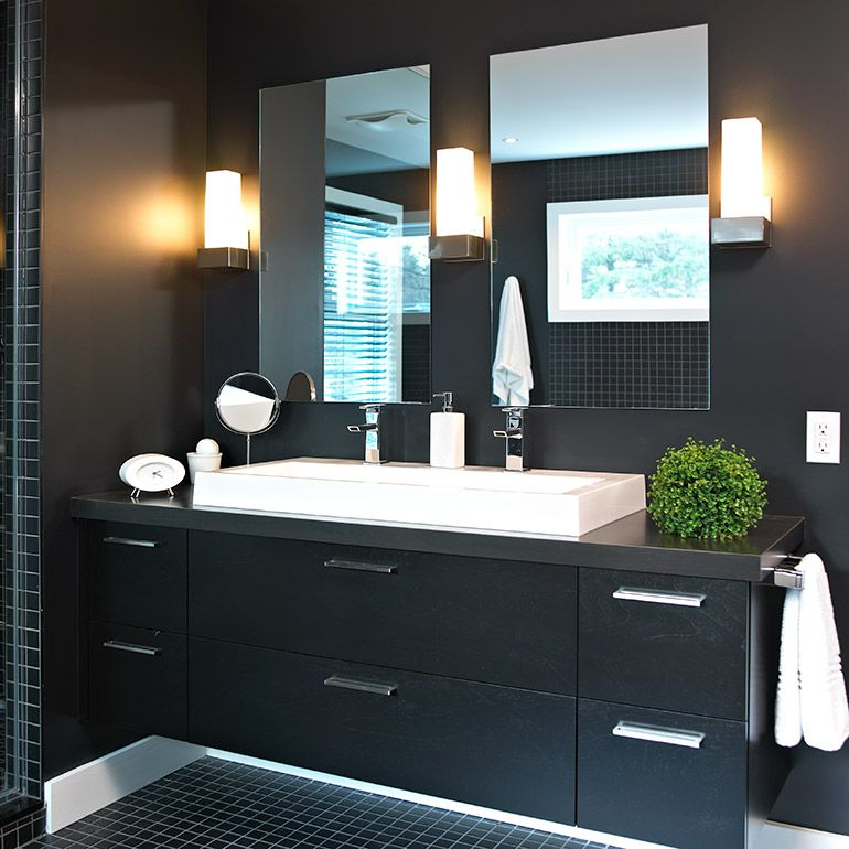 salle de bain contemporaine avec armoires en merisier plaque - Salle De Bain Contemporaine