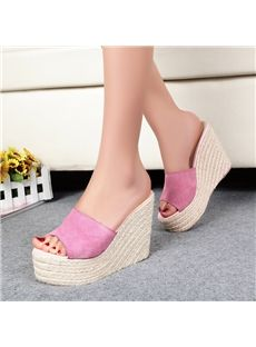 4b2e80cc1fd Shoespie Solid Color Suede Wedge Slippers