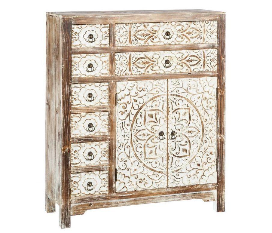 Mueble recibidor en madera de abeto 8 cajones 26 x 73 x 90 for Mueble indonesia