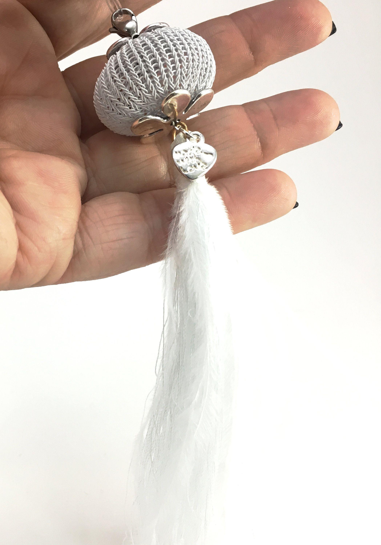 Weisse Boho Kette Transparentes Kautschukband Mit Doppelt Gestricktem Kugel Element Und Quaste Wire Crochet Wire Jewelry Wire Crochet Jewelry