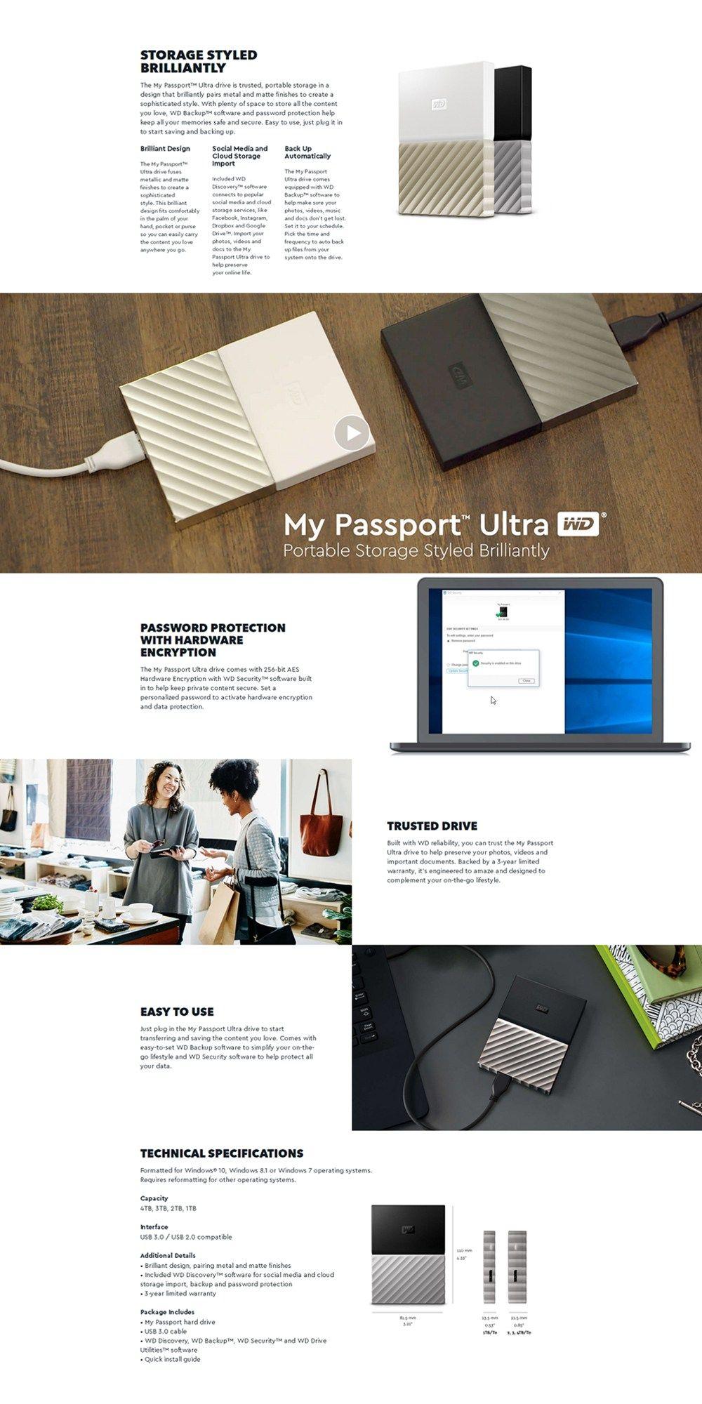 Western Digital My Passport Ultra 1TB 2TB 4TB USB3 0