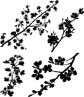 variable silhouettes of spring blossomed branches. Black Bedroom Furniture Sets. Home Design Ideas