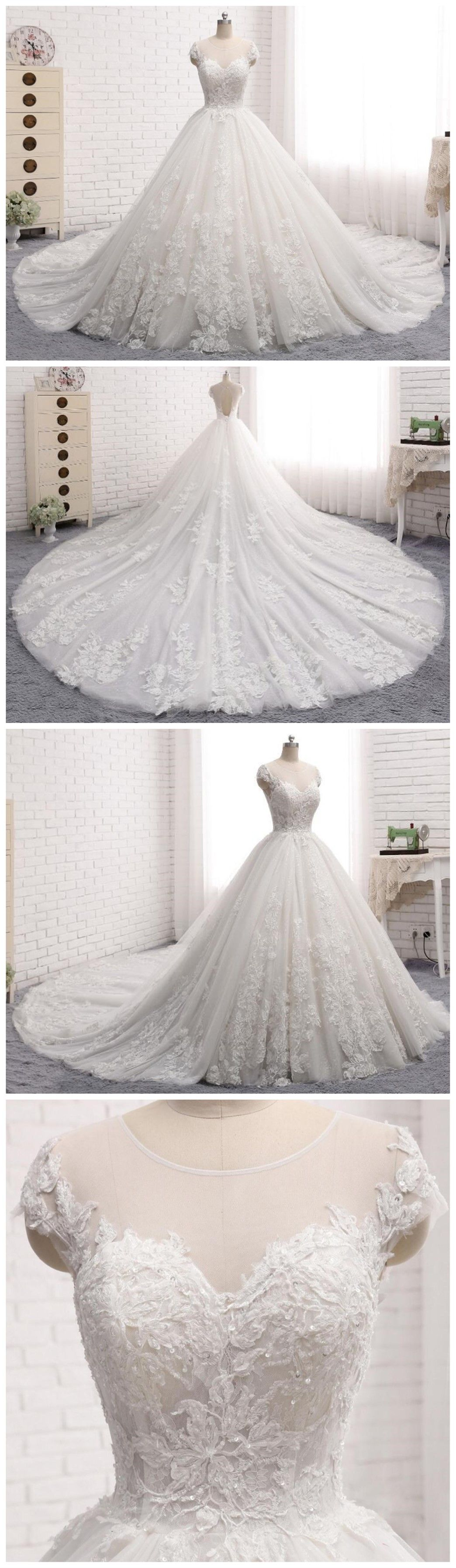 Sexy open back cap sleeve long tail lace wedding bridal dresses