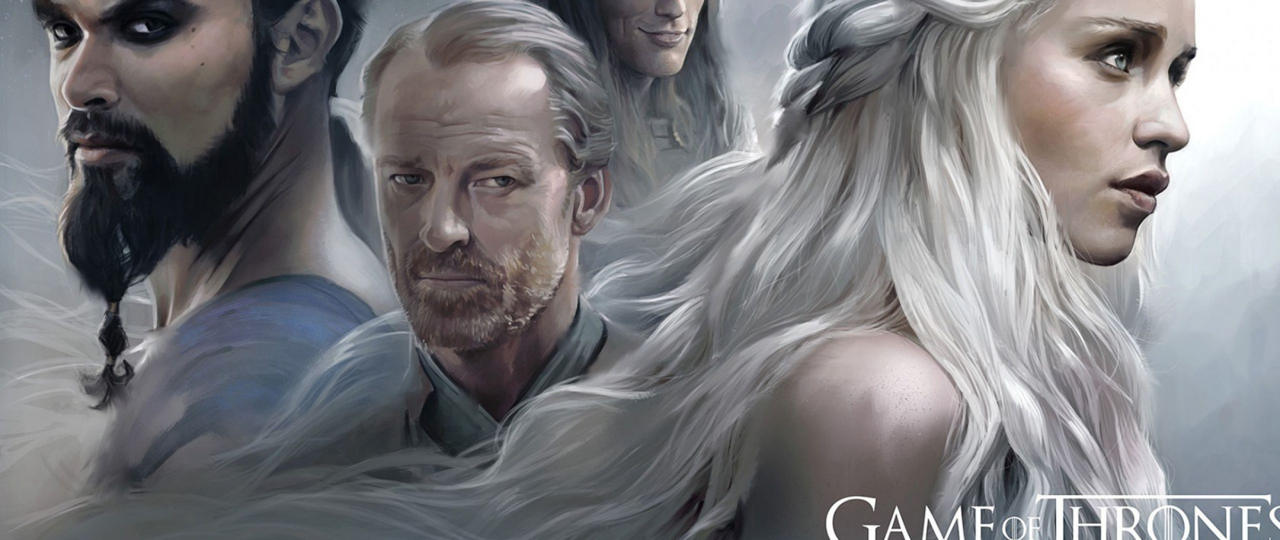 2560x1080 Wallpaper Game Of Thrones Emilia Clarke Daenerys Targaryen Khal Drogo Jason Momoa Jorah Mormont Hbo