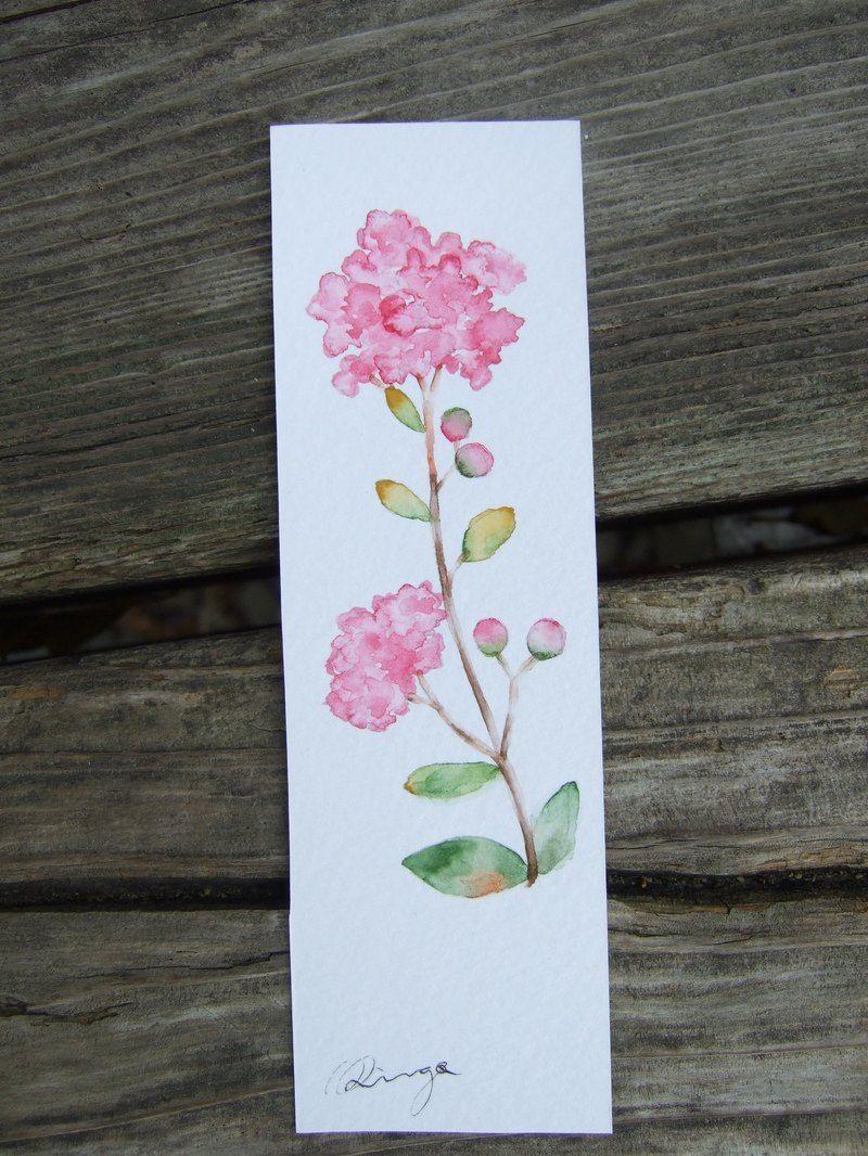 Watercolor bookmark patterns - Crape Myrtle Hand Painted Watercolor Bookmark Original