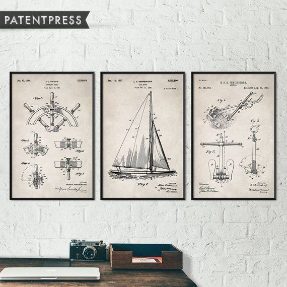 Photo of Nautical Decor, Beach Decor, Beach House Art, Nautical Bathroom Decor, Boat Decor, Sail Boat Art, Sailing Art, Sailing Patent Prints S015