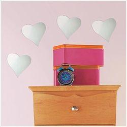 Baby Heart Mirrors - Peel N Stick | Hearts | Girls room wall