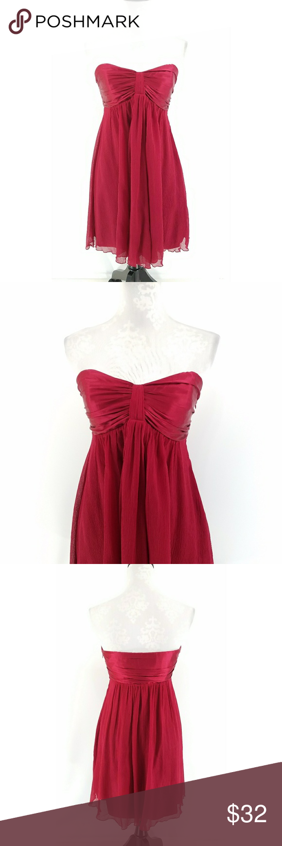 29d4d5917b81 NWT Express Red Chiffon Strapless Dress Women s Express Dress Lined Side  zipper 95% Silk