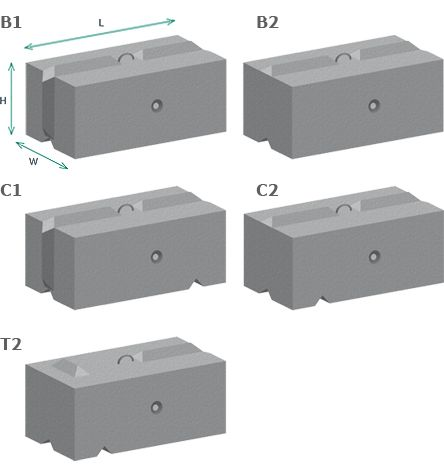 Vee™ Interlocking Concrete Blocks - Full range of standard sizes