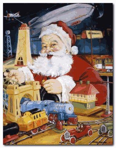 Santa Workshop Wallpapers Santa Workshop Santa Clause Santas Workshop Vintage Christmas Cards Christmas Prints
