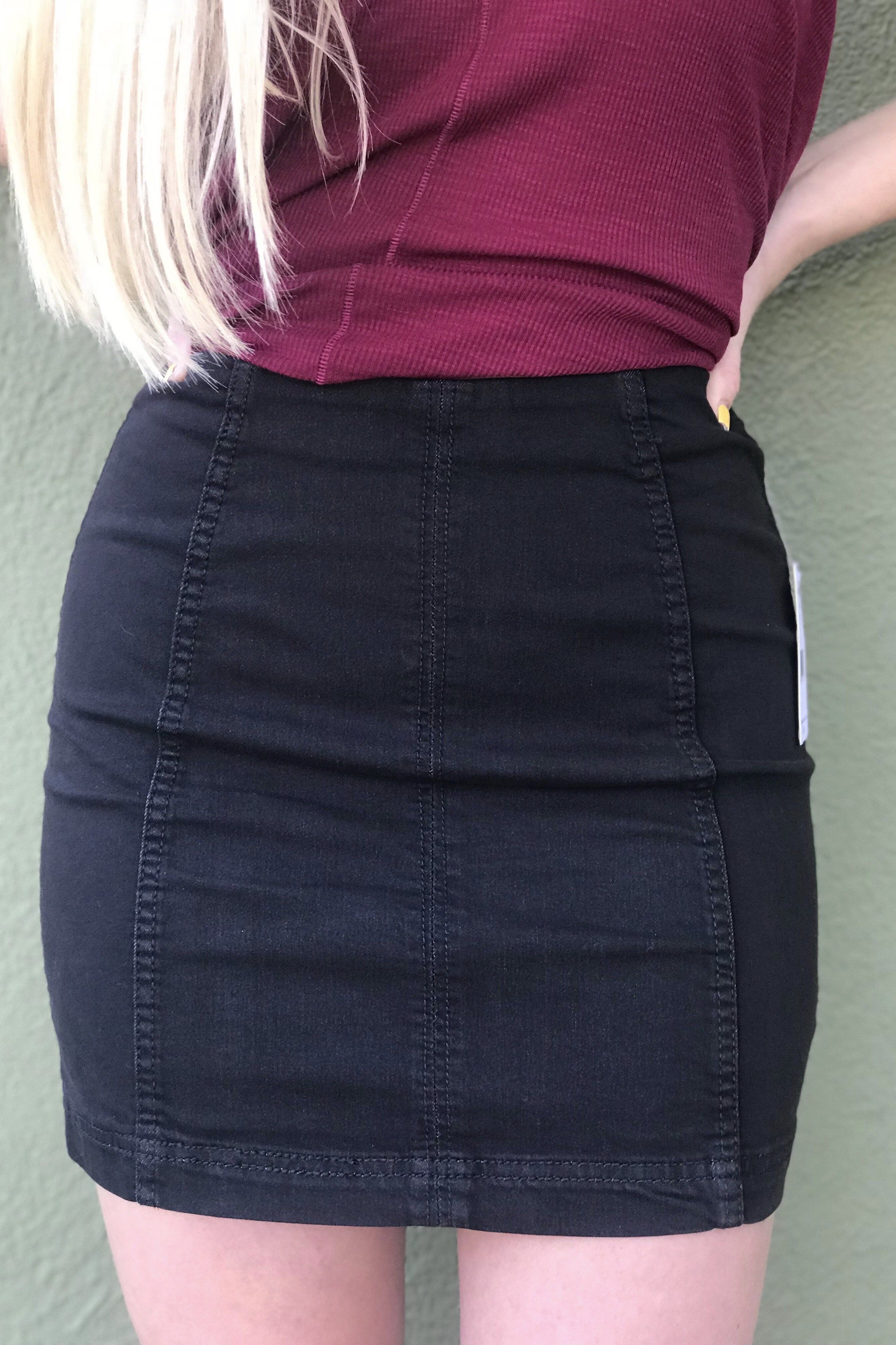 e2b4e1700 Free People Modern Femme Denim Mini Skirt- Black from Chocolate Shoe  Boutique