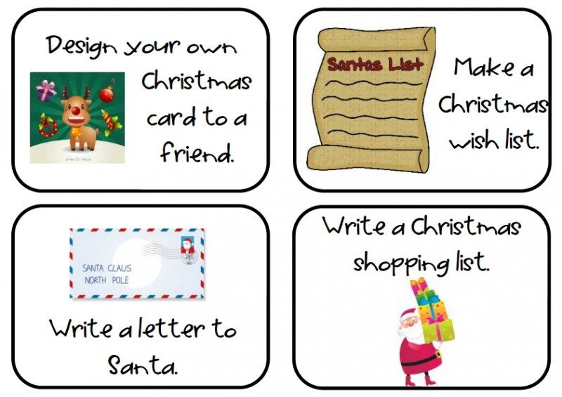 A set of 32 Christmas writing task cards which include a variety of