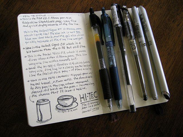 moleskine journal / pen test / handwriting / doodles