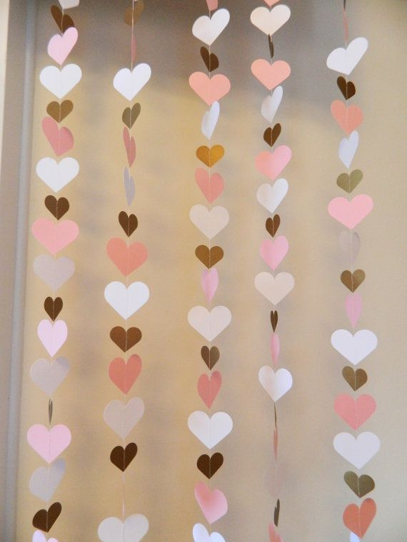 1st Birthday Heart Backdrop girl - Pink and Gold Heart Curtain - Wedding Backdrop - Bridal shower decor - baby shower decorations Girl