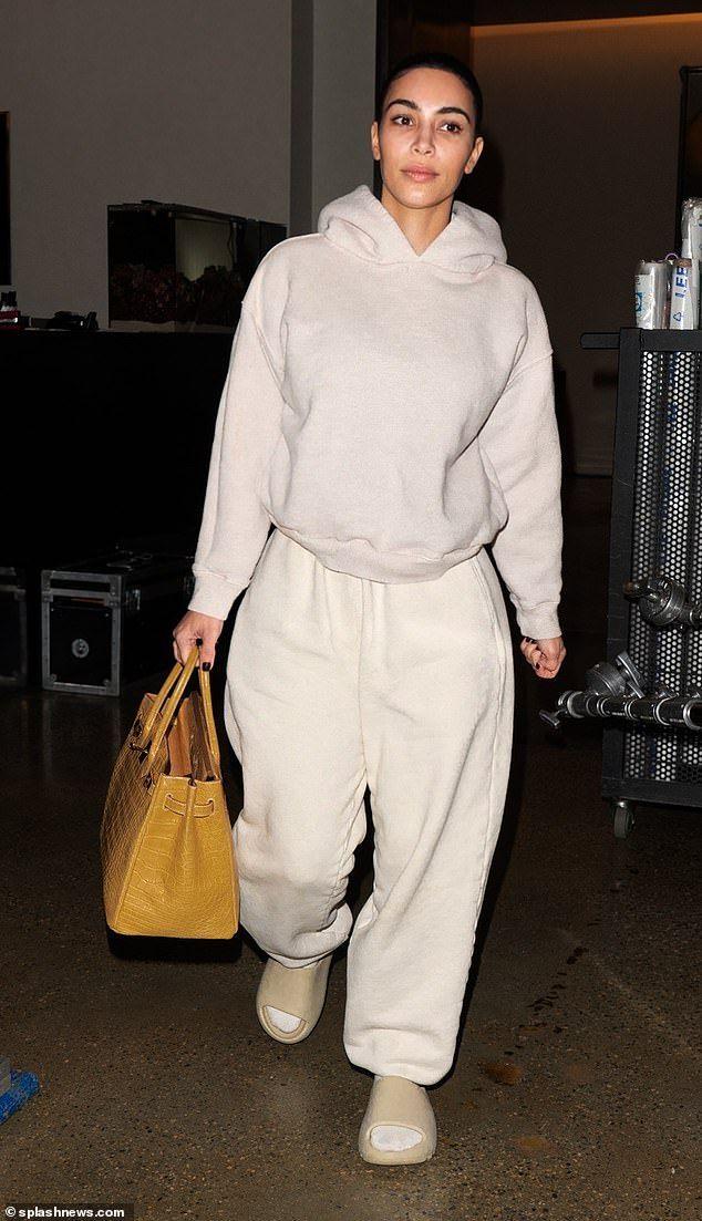 Kim Kardashian goes makeup-free as she carries a $70K Birkin bag in LA
