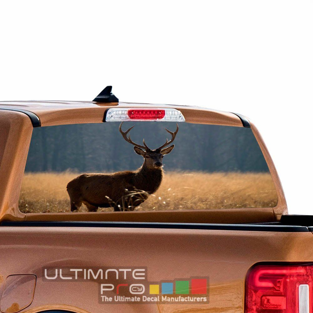 Decals rear back window perforated see thru sticker graphic decal sticker deer compatible with ford ranger film printed 4x4 off road