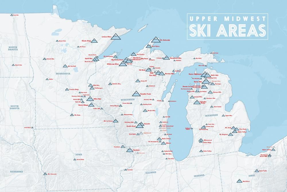 Upper Midwest Ski Resorts Map 24x36 Poster Products Pinterest