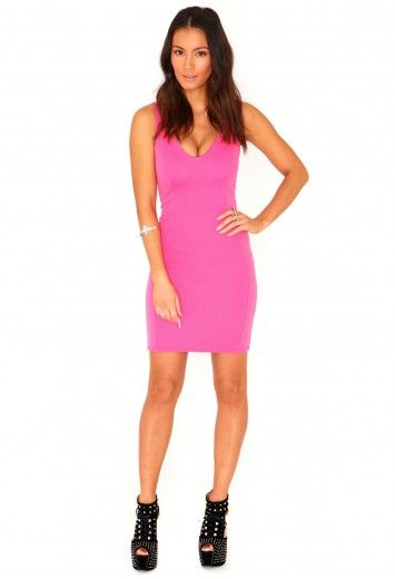 Missguided - Demetra Ribbed Bodycon Mini Dress In Pink