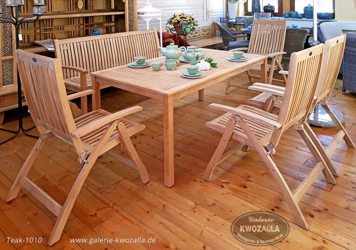 Gartenmöbel Set Aus Teakholz   Zweisitzer, Stühle/Hochlehner Klappbar,  Teaktisch/Esstisch