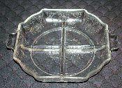 Indiana Glass Lorain Four Part Handled Relish Dish