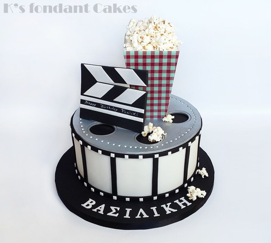 Clapperboard Personalised Edible Icing Cake Topper and or Film Reel Ribbon