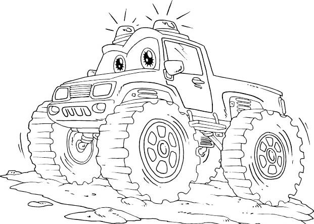Monster Truck Off Road With Flashing Lights Coloring Page - Off ...