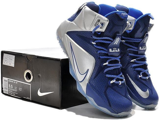 on sale 17890 13c24 Nike Lebron 12 Silver Navy Blue Basketball Shoe1 | Nike ...