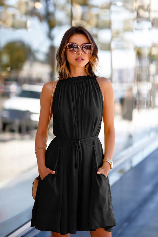 Casual Black Halter Dress With Pockets Dresses Summer Dresses Fashion [ 1500 x 1000 Pixel ]