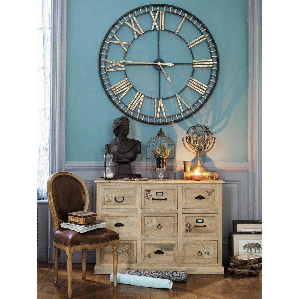 Horloge En Metal Noire D 120 Cm La Valliere Maisons Du Monde Metal Clock Decorative Storage Boxes Clock