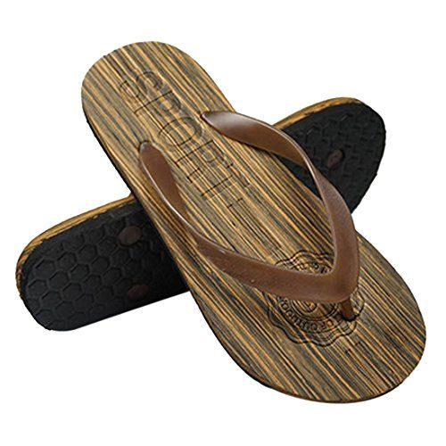 cool Voberry® Men's Flat Flip Flops Wood like Sandals Indoor Outdoor Beach Flip-Flops
