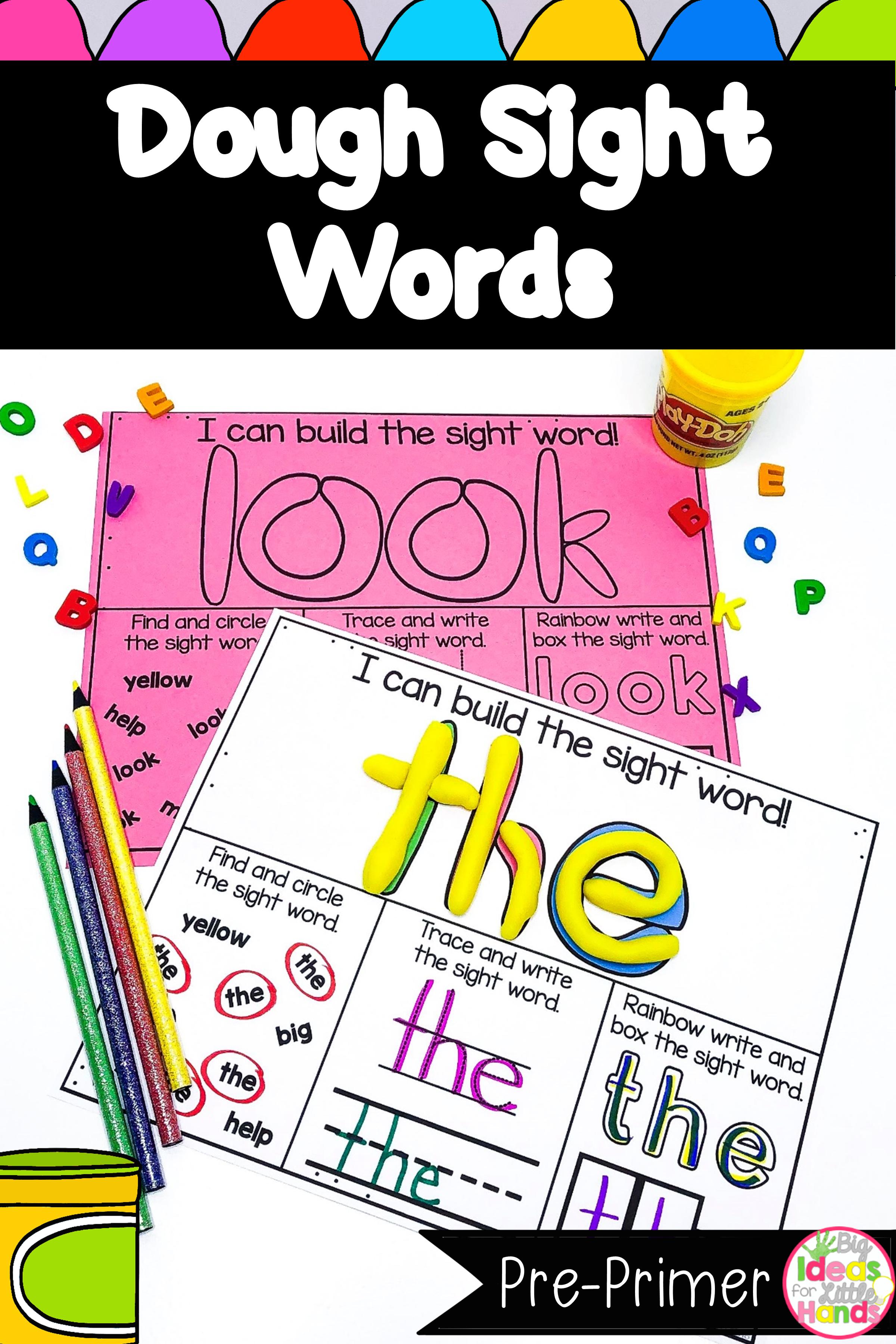 Playdough Mats Sight Words Pre Primer