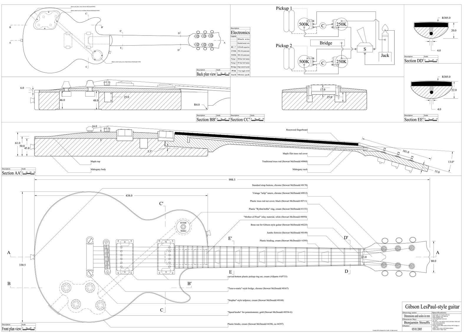 Schablonen und Zeichnungen - GitarreBassBau.de | Guitars | Pinterest ...