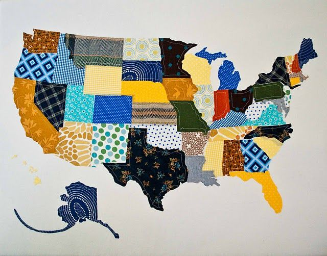 Us map made out of fabric swatches laura scaife this would be so us map made out of fabric swatches laura scaife this would be gumiabroncs Image collections