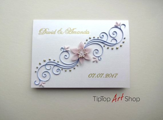 Quilled Wedding Card Homemade Quilling Invitation By TipTopArtShop
