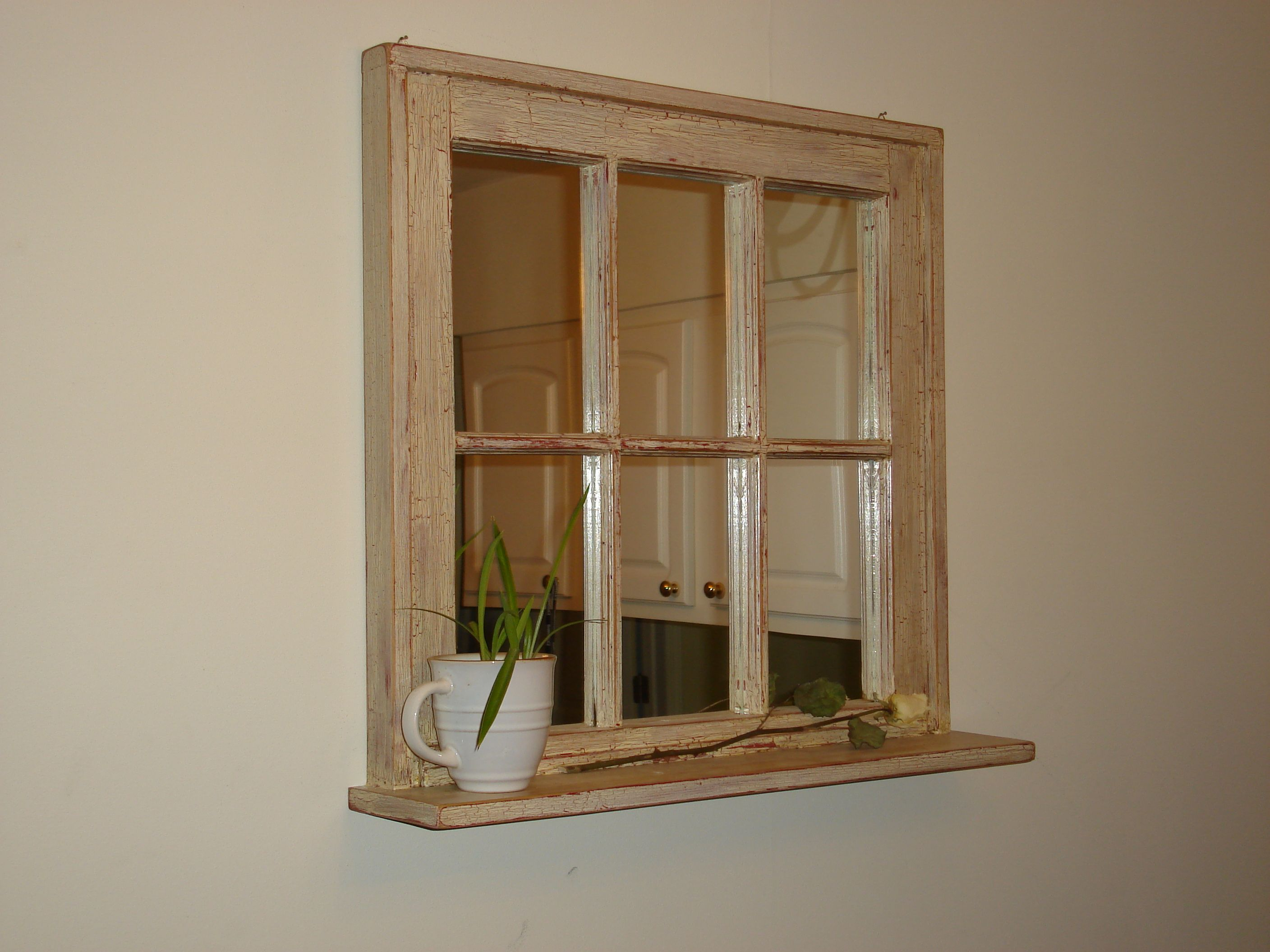 Old barn window with mirror and shelf-crackle paint white over red ...