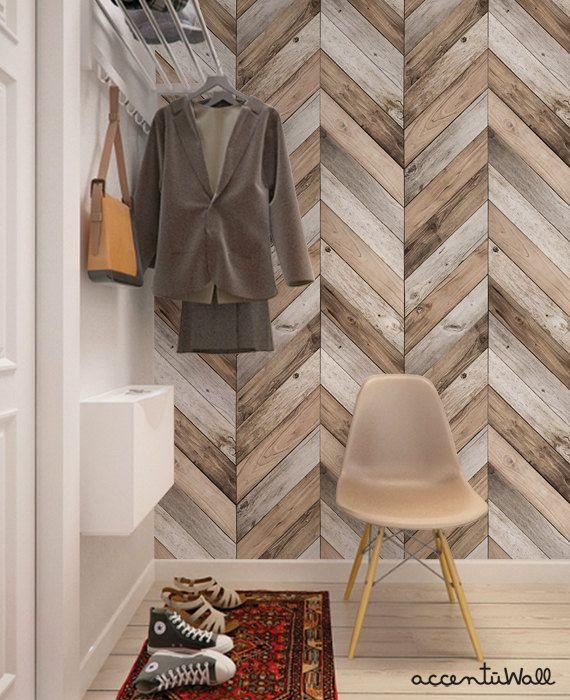 Chevron Wood Herringbone Wallpaper Original Self Adhesive Etsy Cheap Home Decor Herringbone Wallpaper Herringbone Wall