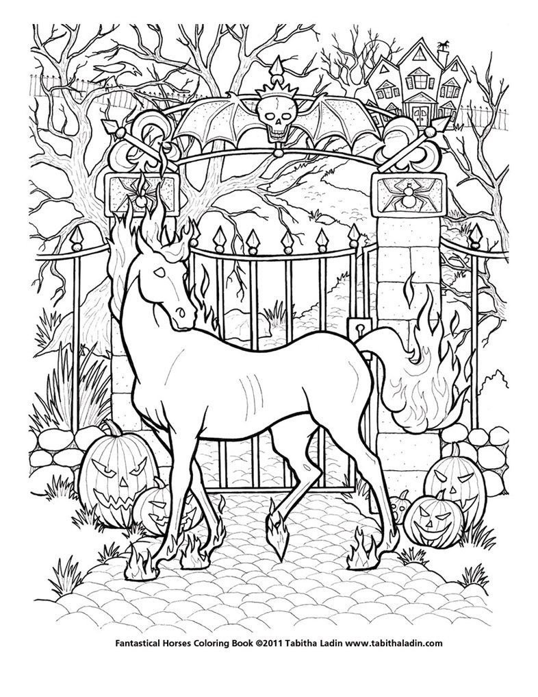 Nightmare Coloring Page Unicorn Coloring Pages Horse Coloring Pages Halloween Coloring Pages