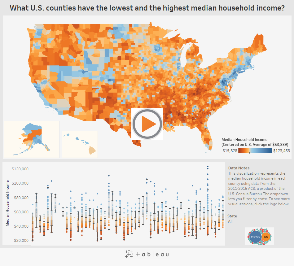 Interactive Visualizing Median Income For All 3000 US Counties