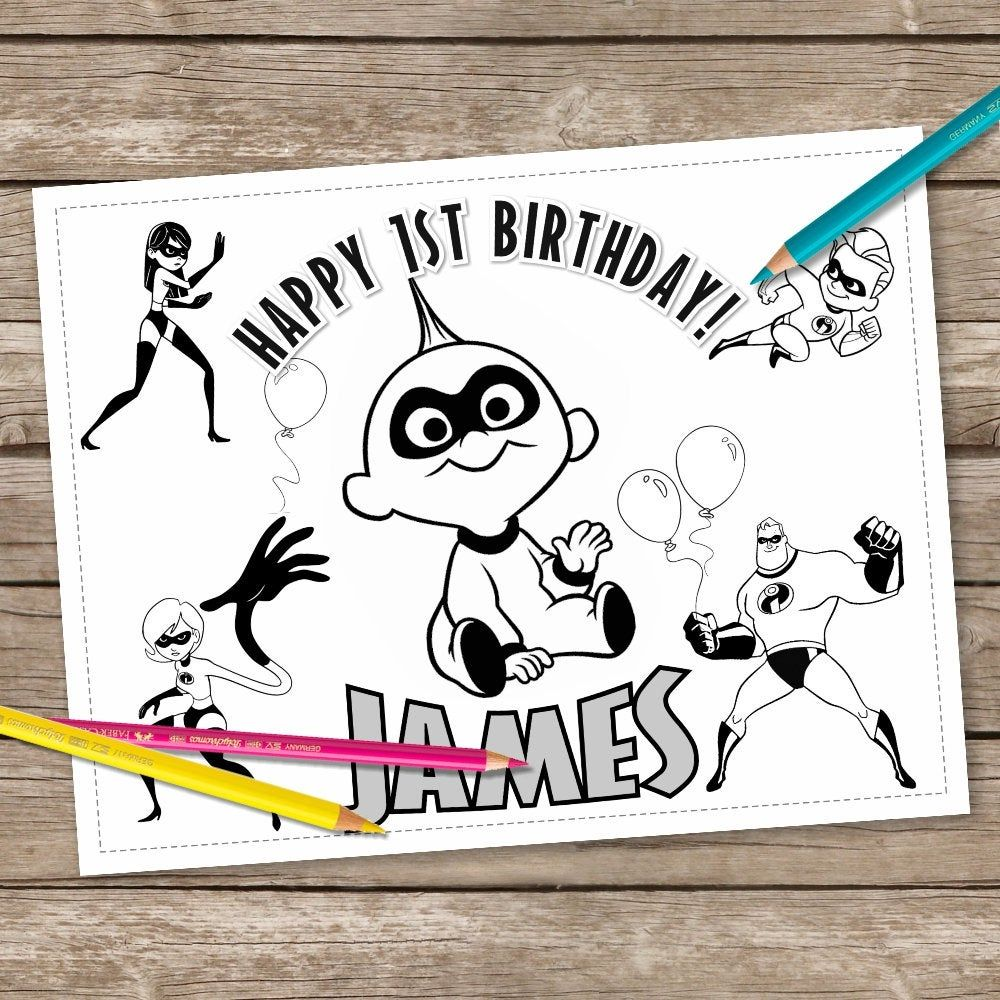 Digital The Incredibles Birthday Coloring Pages, 6 ...