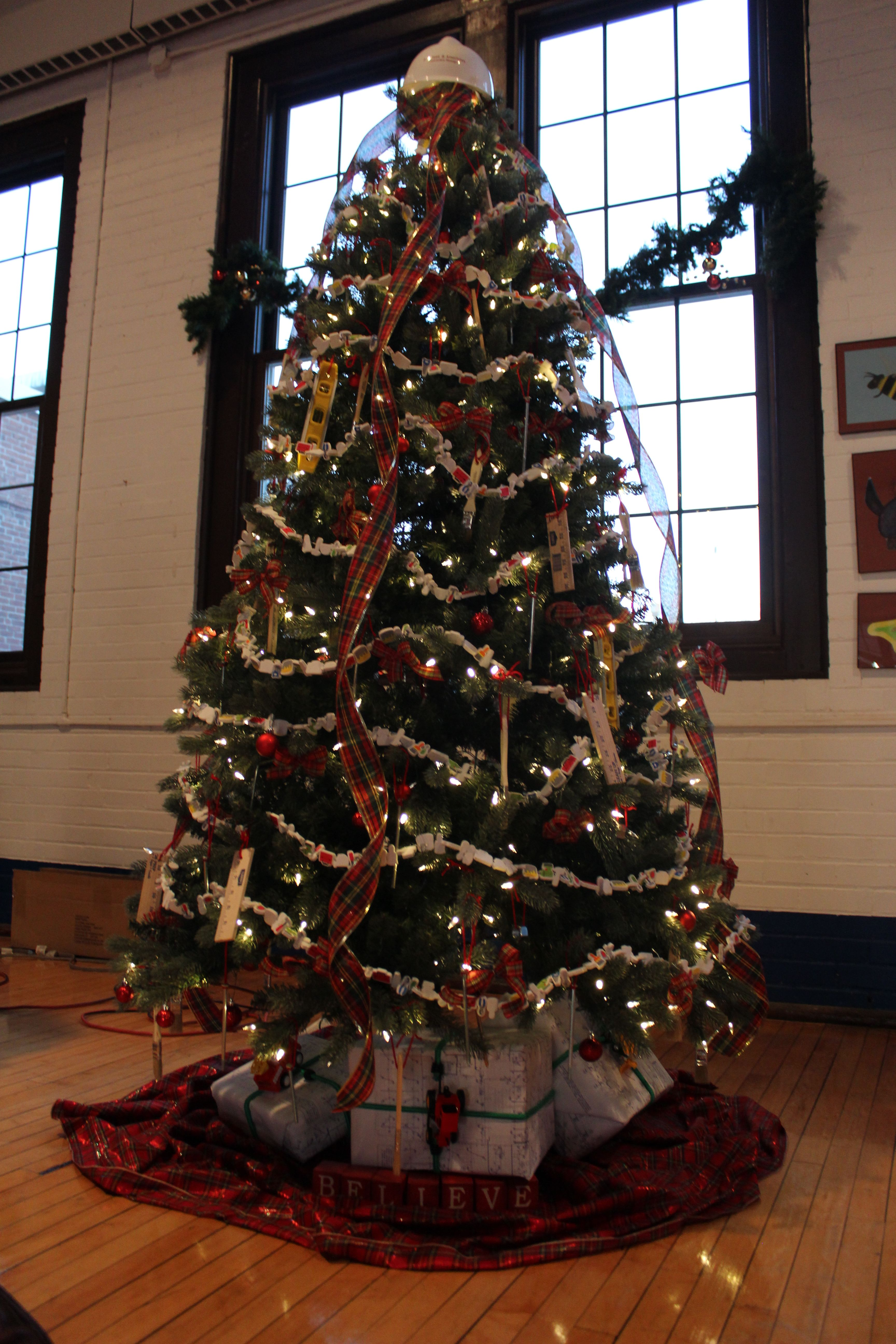 The Jcares Team Decorated And Donated A Construction Themed Tree That Will Be Raffled Off For 2012 Winterfest At The Mass Hospital School