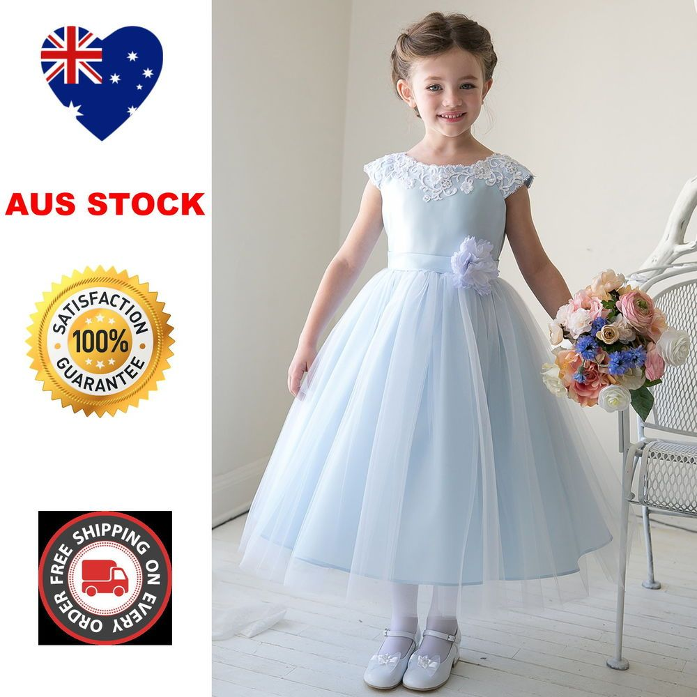 Details about au full length flower girl dress lace tulle