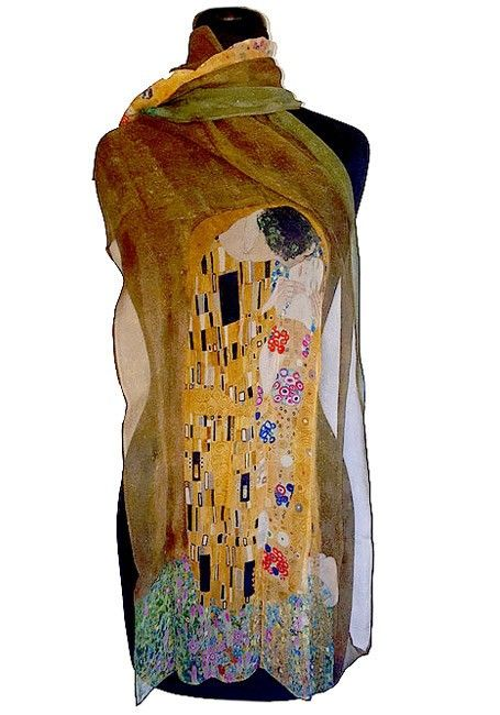 Klimt's, The Kiss Scarf in Light, Airy Chiffon, part of our Klimt gifts art collection.