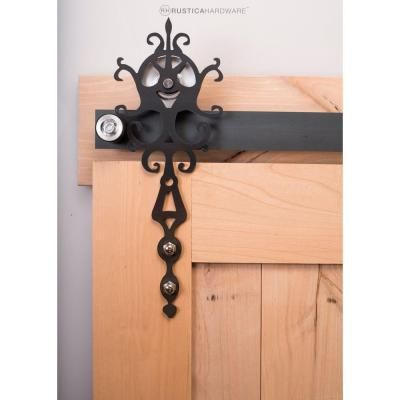 Rustica Hardware 84 in. Raw Steel Sliding Barn Door Hardware Kit with Royal Hangers and Falcon Pull-HDOFFER5 - The Home Depot