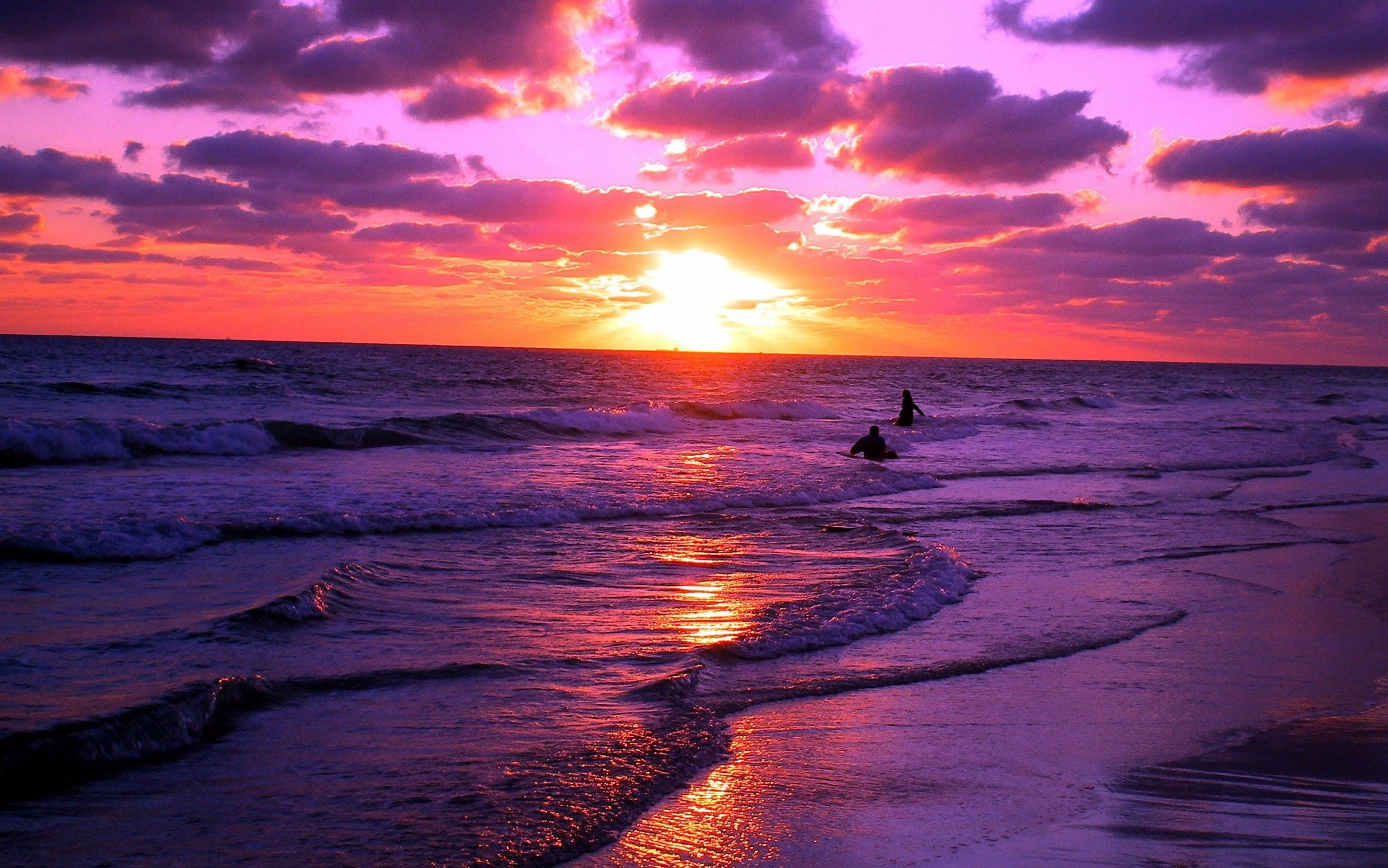 Sunset Landscape Purple Orange Waves Beach Nature Coast Sea Water Clouds Wallpaper Hd Beach Sunset Wallpaper Sunset Pictures Purple Sunset