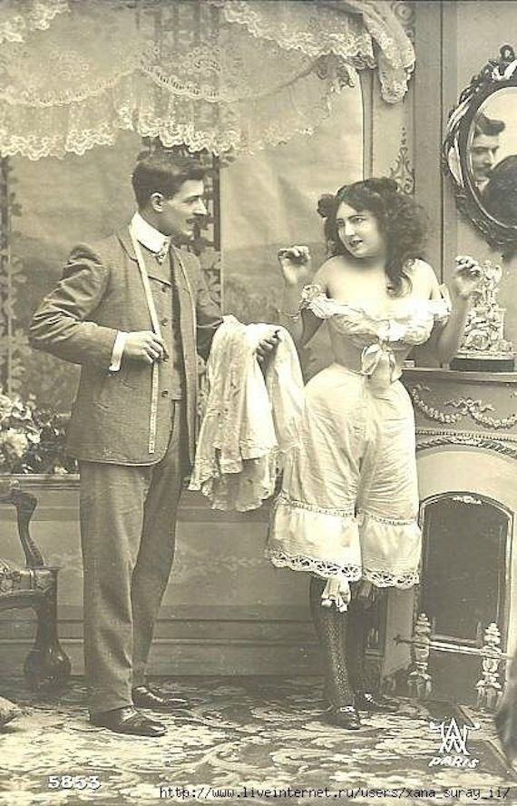 7e7daffd2df5 1900s womens fashion-Underwear, as depicted on a naughty postcard.