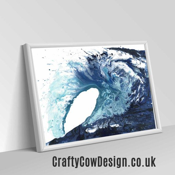 Poole Wave - This is one of the paintings in my wave wall art seriesand was created using mixed media; The colours in the painting are different