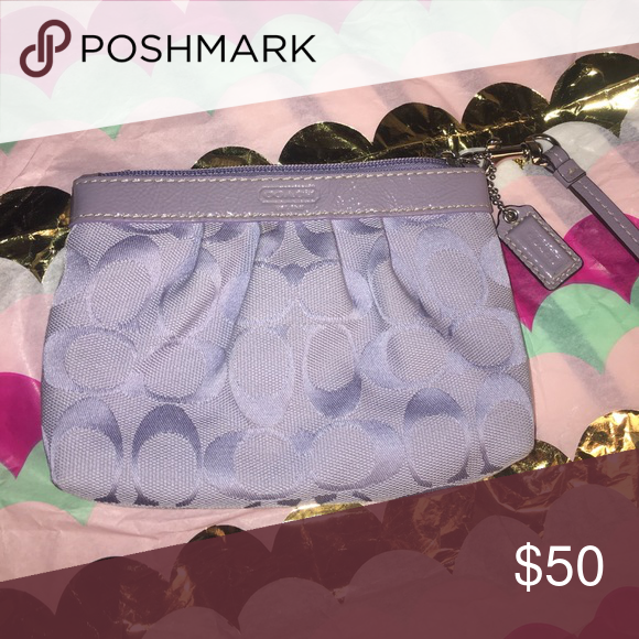Coach Lavender Wristlet Coach brand wristlet perfect for a night out on the town! Great size to hold a phone, some cash, ID, and a card. Coach Bags Clutches & Wristlets