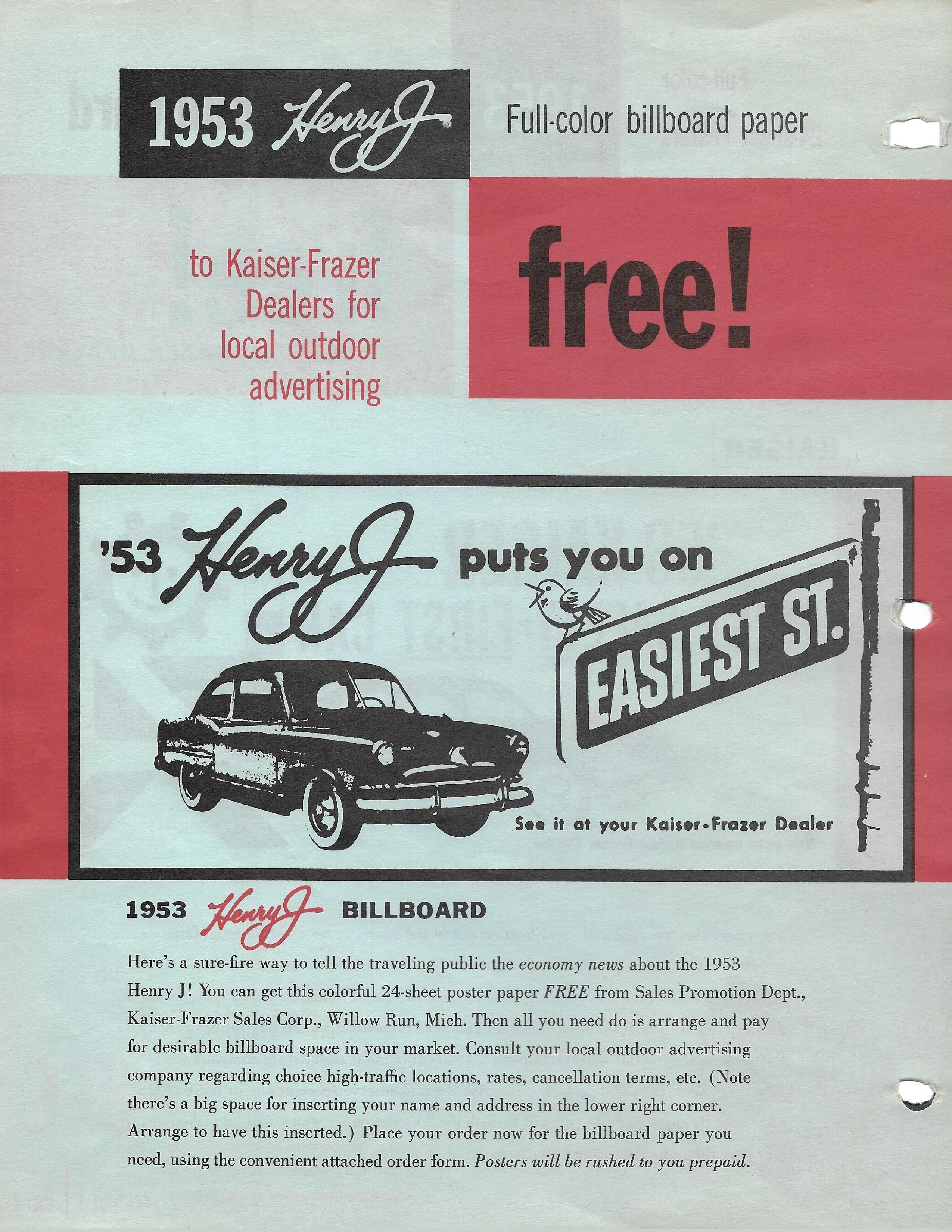 Dealers could get free billboards for the 1953 henry j by